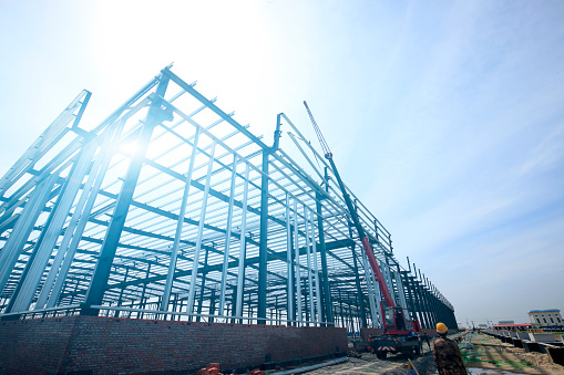 The steel structure construction site photo